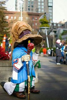 Vivi - Final Fantasy IX. This guy even kneel to portray the character