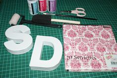 Colorful Hobbies: DIY: Decoupage letters for child´s bedroom Diy Decoupage Letters, Decoupage Glue, Glitter Glue, Silver Glitter, Small Paint Brushes, Kids Bedroom, Bedroom Ideas, Wooden Letters, One Design