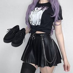 Suchcute women's skirt leather short skirt fashion 2019 pleated skater micro mini skirts gothic dancing korean style saia midi-in skirts from women's clothing on alibaba group Punk Outfits, Gothic Outfits, Grunge Outfits, Girl Outfits, Egirl Fashion, Cute Fashion, Korean Fashion, Fashion Outfits, Leather Fashion