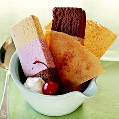 For a new take on classic sundaes, arrange slices of Neapolitan ice cream with crispy cinnamon-spiced crepes.