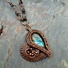 Labradorite and Copper Necklace Named by MandatoJewelryDesign