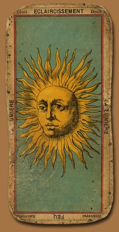 Vintage tarot card; like the way they used to draw/print astrological entities like this.