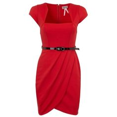 Lipsy Belted Day Dress ($70) ❤ liked on Polyvore featuring dresses, vestidos, red, short dresses, red dress, cap sleeve wrap dress, short wrap dress, lipsy dress and red cap sleeve dress