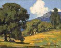 William Wendt (American, California wildflowers and oaks 8 x (overall: 16 x Landscape Art, Landscape Paintings, Oil Paintings, Landscapes, California Wildflowers, Watercolor Trees, Art For Art Sake, Western Art, Art Auction
