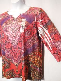 (NWT) Style & Co. Plus Size 1x 3/4 Sleeve  V- Neck Red Sequins Paisley Blouse #Styleco #Blouse #Casual