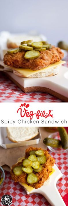Chick-fil-A Spicy Chicken Sandwich This is an easy vegan recipe for a Chick-Fil-A Chicken Sandwich that you can quickly and easily make at home. This vegan spicy chicken sandwich is made with battered seitan, tangy pickles, and vegan cheese Spicy Chicken Sandwiches, Chicken Sandwich Recipes, Vegan Sandwiches, Chick Fil A Spicy Chicken Recipe, Vegetarian Sandwich Recipes, Sandwich Ideas, Vegan Recipes Easy, Whole Food Recipes, Cooking Recipes