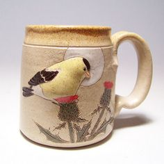 Goldfinch and Thistle Pottery Coffee Mug Limited by JimAndGina, $25.00