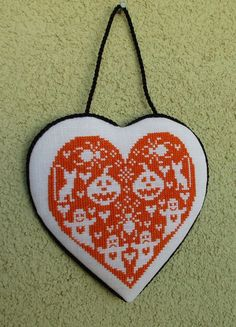 Finished,hand made cross stitch ornament --- Halloween Heart                                                                                                                                                                                 More