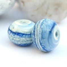 Paire de «Habile bleu» marbré de perles de verre au chalumeau, boucles d'oreilles, bijoux, bijoux, Lapis, bleu, Ivoire