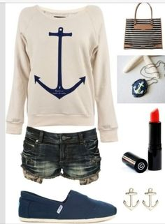 Cute Spring-Summer Anchor Outfit. Love the earrings!