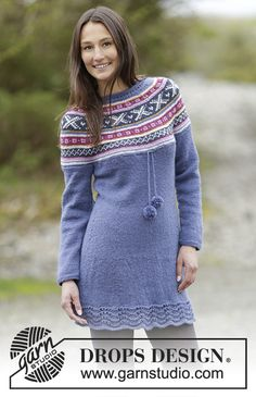 Knitted DROPS dress with round yoke and Norwegian pattern in Karisma. Size: S - XXXL Free pattern by DROPS Design.