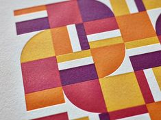Recently she has been working on a font based on his work, using just four simple shapes. Under her guidance, Craig Welsh developed two designs that have been printed using two different color combinations and letterpressed to perfection.