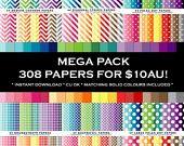 """Digital Paper Pack Bundle Mega Set 12"""" x 12"""" chevron polka dot stripe houndstooth quatrefoil commercial use no credit INSTANT DOWNLOAD"""