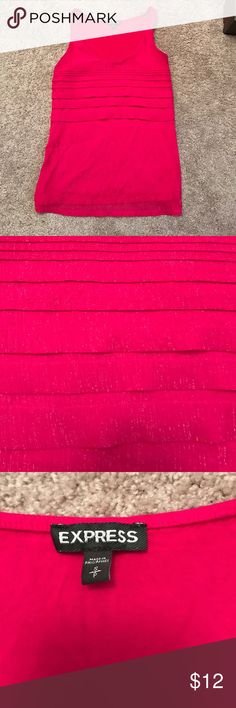 Express pink, sparkle tank top Beautiful pink tank top from Express. Front has sparkles and scalloped pattern along chest. Back is just pink. Great condition. Looks amazing dressed up or down Express Tops Tank Tops