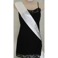 Custom Future Mrs Rhinestone Sash - White with Crystal Rhinestones