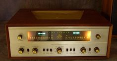 Fisher Tube Receiver - 22 tubes and distinct AM & FM tuners, each with a tuning stereo-scope tube. Stereo Turntable, Custom Consoles, Vinyl Record Collection, Hifi Audio, Guitar Amp, Audiophile, Fisher, Retro Vintage, Gadgets