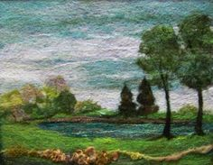 Summer's End - Needlefelt Art Felt Fabric, Fabric Art, Felt Wall Hanging, Felt Pictures, Needle Felting Tutorials, Wool Art, Landscape Quilts, Wet Felting, Felt Art