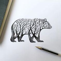 Fauna and flora come together as one in this ballpoint pen illustration by @alfredbasha.