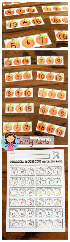 FREE Autumn / Fall Math Centers for Kindergarten. Write the missing number activity.