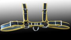 Men 100% Pure Leather Body Chest Harness In Black W/ Yellow Trim #COSH