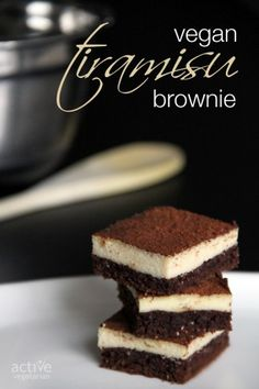 Vegan Tiramisu Brownie What's better than dessert? How about 2 desserts in one? These Tiramisu Brownies are sure to be a crowd pleaser. Read more at http://www.activevegetarian.com/#1Lul43WwyMkt8TJ3.99