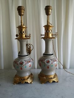 Check out this item in my Etsy shop https://www.etsy.com/listing/586572310/antique-french-pair-lamps-porcelain
