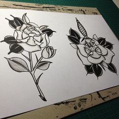 black and white roses old school
