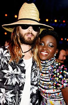 Jared Leto and Lupita Nyong'o at the 2014 MTV Movie Awards, April 13