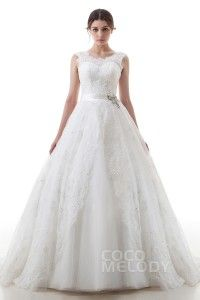 [ USD$ 389 ] Luxurious A-Line Illusion Train Lace Ivory Zipper With Button Wedding Dress with Beading and Ribbons LD3826