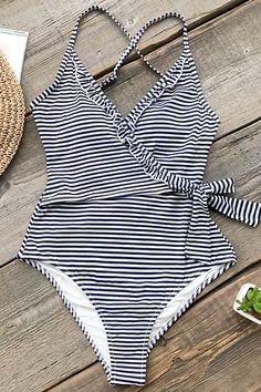 Navy And White Striped One-piece Swimsuit – Cupshe Trendy Swimwear, Cute Swimsuits, Women Swimsuits, Bikini Floral, One Piece Swimsuit Slimming, Bikini Sets, Striped One Piece, Striped Style, Stripes Fashion