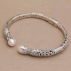 Cultured pearl cuff bracelet, 'Magical Encounter' - Cultured Pearl and Sterling Silver Cuff Bracelet Sterling Silver Cuff Bracelet, Silver Bangle Bracelets, Silver Rings, Jewelry Bracelets, Gucci Jewelry, 925 Silver, Jewelry Watches, Fashion Jewelry, Silver Bracelets For Women