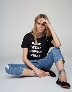 Pull&Bear - woman - clothing - what's new - message print t-shirt - faded black - 05237326-V2017