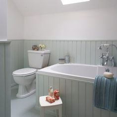 Tongue and groove bathroom. Tongue and groove wall bathroom. White Tongue and groove bathroomview fu Aqua Bathroom, Attic Bathroom, Upstairs Bathrooms, Family Bathroom, Wood Bathroom, Small Bathroom, Downstairs Bathroom, Bathroom Hardware, Bathroom Vanities