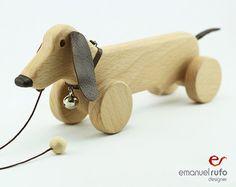 Gepersonaliseerde houten speelgoed, houten hond speelgoed, Eco vriendelijke Pull speelgoed