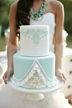 Another birthday cake idea... love the ruffles and filigree... maybe in pink