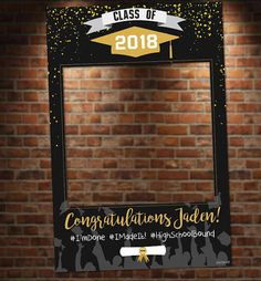 Black and Gold Graduation Photo Booth. Digital File Only Black and Gold Graduation Photo Booth. Great for graduation parties! Colors and text customizable. 8th Grade Graduation, College Graduation Parties, Graduation Celebration, Graduation Decorations, Graduation Party Decor, Graduation Photos, Grad Parties, Photo Booth Props Graduation, Graduation Picture Frames