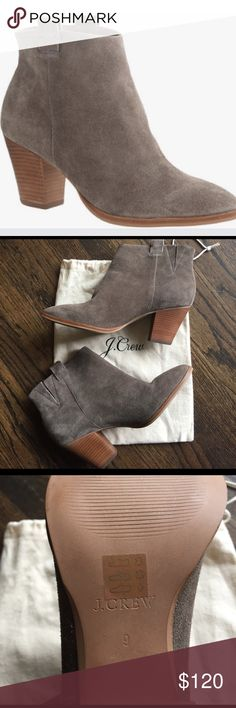 "J. Crew Eaton Suede Ankle Boots, Size 9, NWOT J. Crew Eaton Suede Ankle Boots, size 9, never been worn outside. Color is Highland Gray. Heel height is 2 7/8"". Suede upper, leather lining. Item # C2030. NWOT J. Crew Shoes Ankle Boots & Booties"