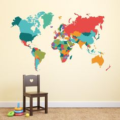 Adesivi da parete Map of the World Colors Wall Sticker Adesivo da Muro