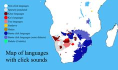 Map of all languages which feature click sounds.