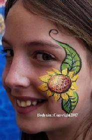 Sunflower cheek art. The link is gone, picture only. | Facepaint ...