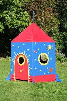 Childrens Wooden Framed Space Rocket Play Tent