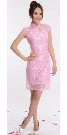 robe chinoise dentelle rose http://www.laciteinterdite.com/robe-chinoise-courte-en-dentelle-rose-c2x12761041
