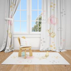 Excited to share this item from my #etsy shop: Cute Bunny and Balloons Baby Girl Room Curtain Nursery Curtains Window Curtains
