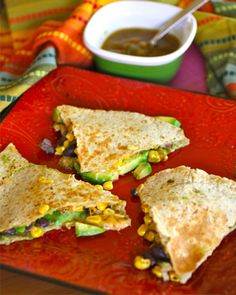 Roasted corn, black bean, and avocado quesadillas. Good idea for Meatless Monday meal.