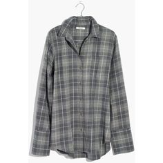 MADEWELL Flannel Bristol Button-Down Shirt in Plaid ($80) ❤ liked on Polyvore featuring tops, steel morning, fold button down shirt, plaid button up shirts, flannel button-down shirts, oversized tops and oversized button-down shirts