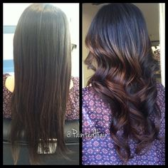 Ombre with long layered haircut.