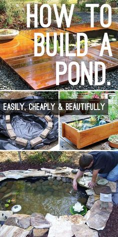How to Build a Pond Easily, Cheaply and Beautifully - Step by step tutorial, great tips and a few good DIY pond projects and ideas for you to try! diy Wasserfall How to Build a Pond Easily, Cheaply and Beautifully Pond Design, Garden Design, Outdoor Ponds, Outdoor Fountains, Water Fountains, Garden Fountains, Indoor Pond, Building A Pond, Building Plans
