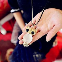 Innocence Small Horse and Owl Crystal Sweater Chain Cute Long Necklace for Woman Gift