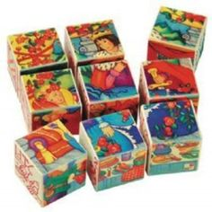 Puzzle blocks. My sister had a Snow White and the Seven Dwarfs set  which came in a box.