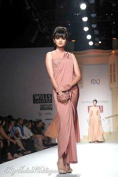 Shantanu Nikhil designer saree with embroidered blouse